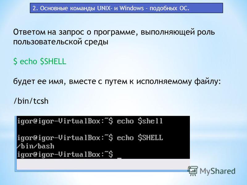 Ответом на запрос о программе, выполняющей роль пользовательской среды $ echo $SHELL будет ее имя, вместе с путем к исполняемому файлу: /bin/tcsh 2. Основные команды UNIX- и Windows - подобных ОС.
