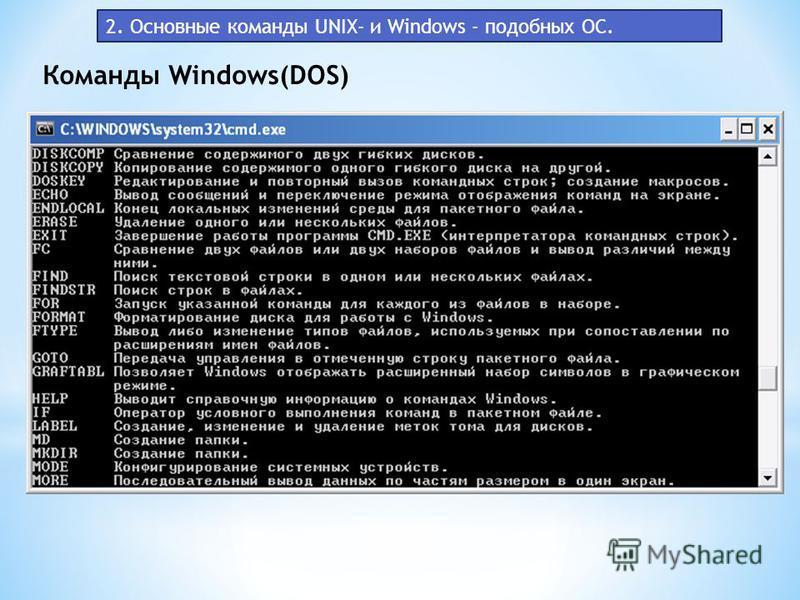 Команды Windows(DOS) 2. Основные команды UNIX- и Windows - подобных ОС.