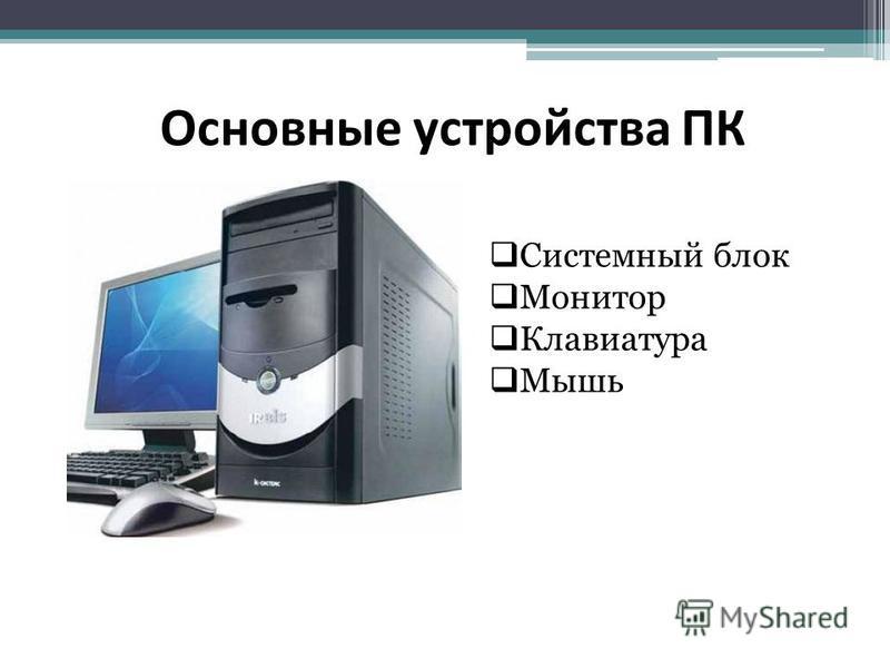 Основные устройства ПК Системный блок Монитор Клавиатура Мышь