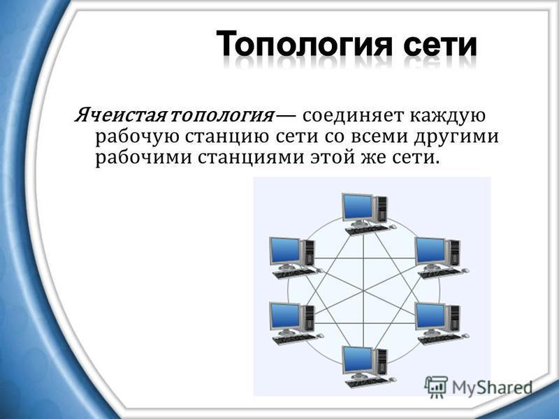 Ячеистая топология соединяет каждую рабочую станцию сети со всеми другими рабочими станциями этой же сети.