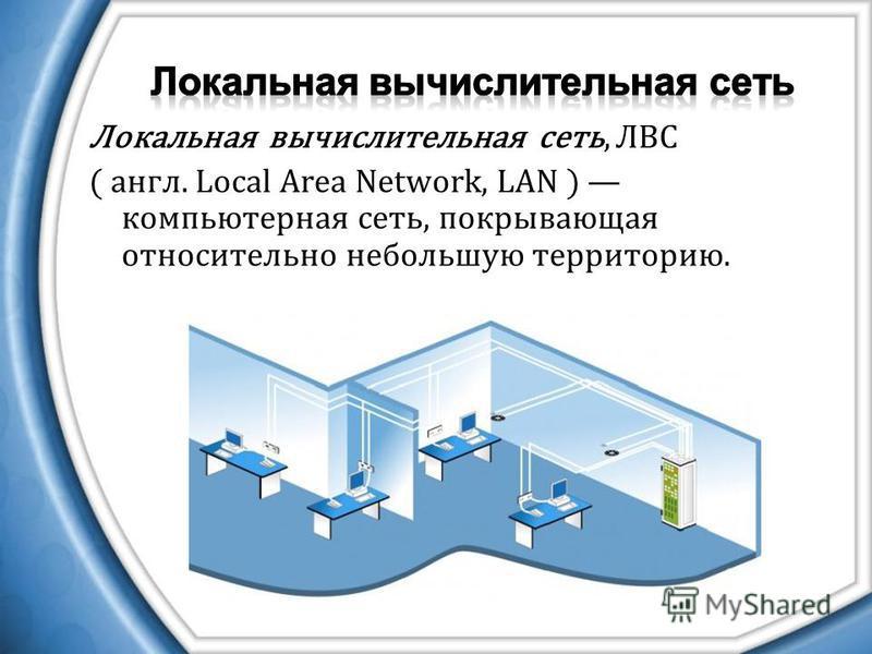 Локальная вычислительная сеть, ЛВС ( англ. Local Area Network, LAN ) компьютерная сеть, покрывающая относительно небольшую территорию.