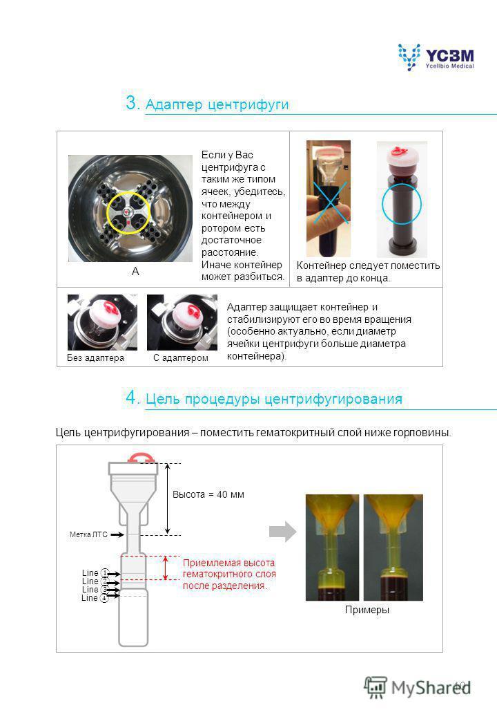 10 Если у Вас центрифуга с таким же типом ячеек, убедитесь, что между контейнером и ротором есть достаточное расстояние. Иначе контейнер может разбиться. Адаптер защищает контейнер и стабилизируют его во время вращения (особенно актуально, если диаме