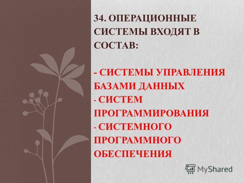 34. ОПЕРАЦИОННЫЕ СИСТЕМЫ ВХОДЯТ В СОСТАВ: - СИСТЕМЫ УПРАВЛЕНИЯ БАЗАМИ ДАННЫХ - СИСТЕМ ПРОГРАММИРОВАНИЯ - СИСТЕМНОГО ПРОГРАММНОГО ОБЕСПЕЧЕНИЯ