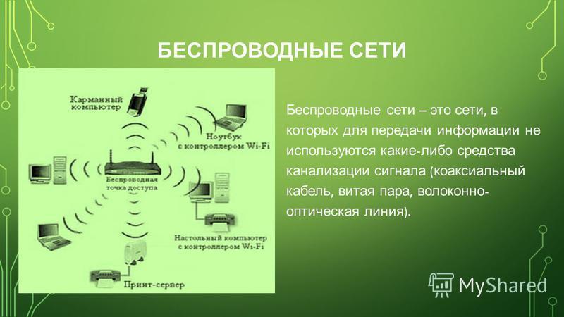 БЕСПРОВОДНЫЕ СЕТИ Беспроводные сети – это сети, в которых для передачи информации не используются какие - либо средства канализации сигнала ( коаксиальный кабель, витая пара, волоконно - оптическая линия ).