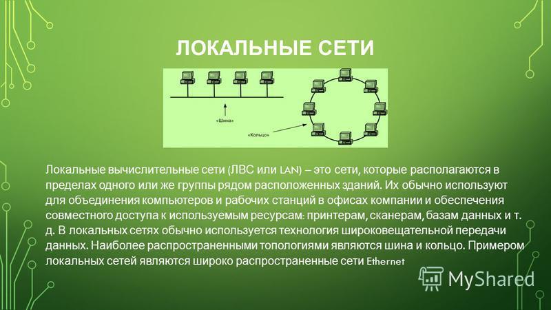 ЛОКАЛЬНЫЕ СЕТИ Локальные вычислительные сети ( ЛВС или LAN) – это сети, которые располагаются в пределах одного или же группы рядом расположенных зданий. Их обычно используют для объединения компьютеров и рабочих станций в офисах компании и обеспечен