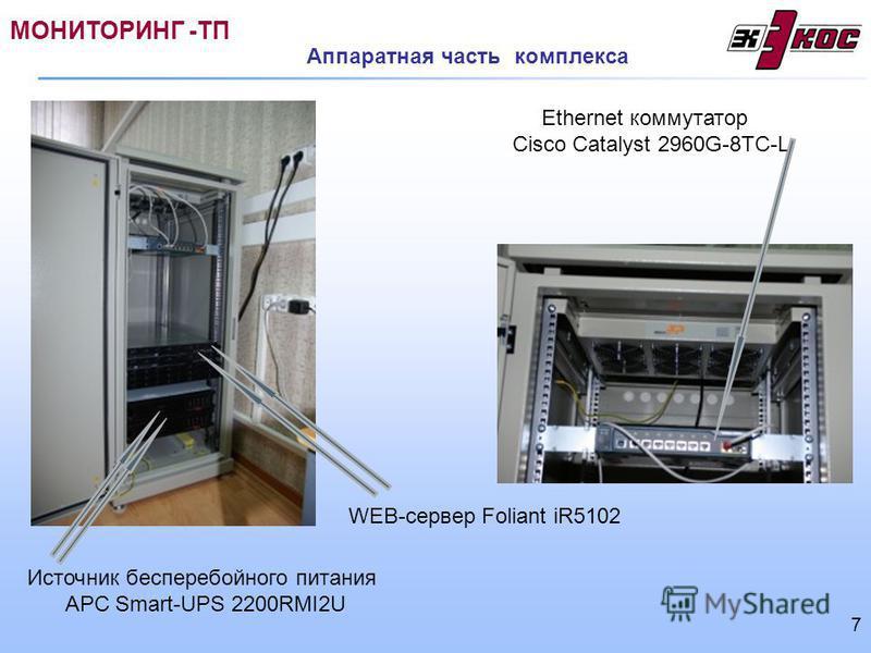WEB-сервер Foliant iR5102 Ethernet коммутатор Cisco Catalyst 2960G-8TC-L Источник бесперебойного питания АРС Smart-UPS 2200RMI2U Аппаратная часть комплекса МОНИТОРИНГ -ТП 7