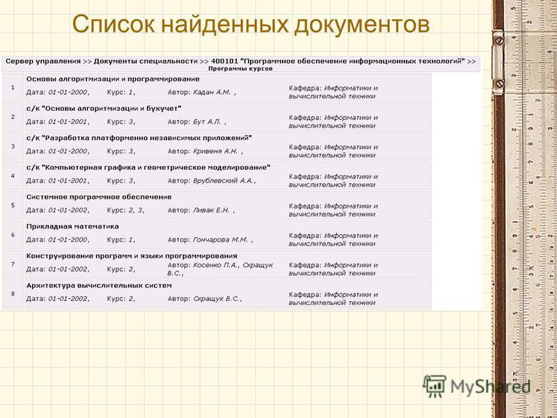 Список найденных документов