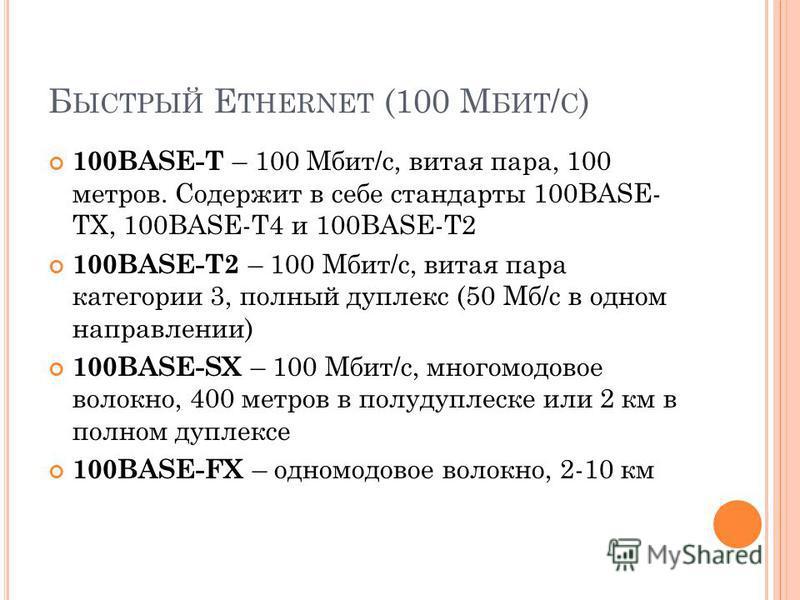 Б ЫСТРЫЙ E THERNET (100 М БИТ / С ) 100BASE-T – 100 Мбит/c, витая пара, 100 метров. Содержит в себе стандарты 100BASE- TX, 100BASE-T4 и 100BASE-T2 100BASE-T2 – 100 Мбит/с, витая пара категории 3, полный дуплекс (50 Мб/c в одном направлении) 100BASE-S
