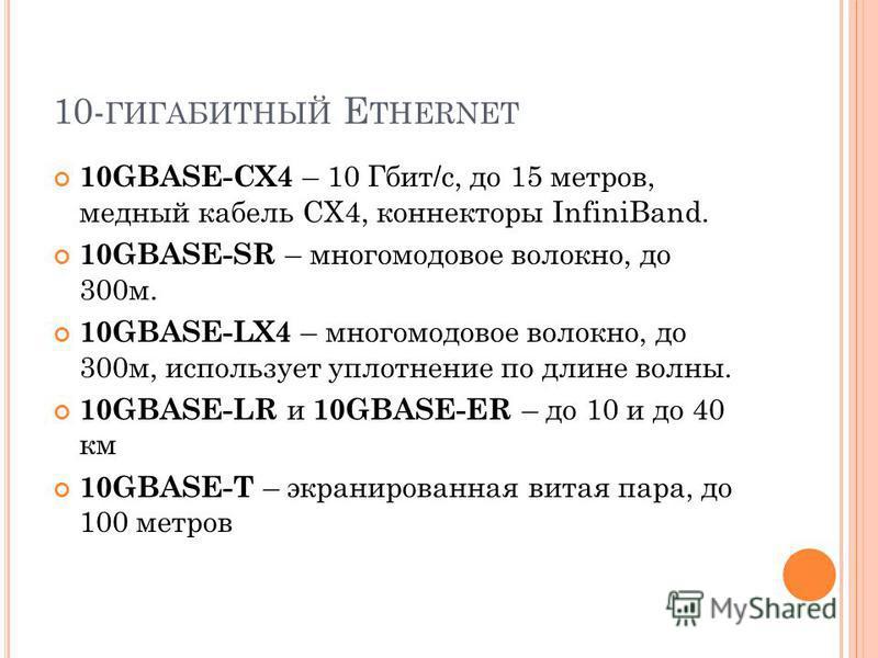 10- ГИГАБИТНЫЙ E THERNET 10GBASE-CX4 – 10 Гбит/с, до 15 метров, медный кабель CX4, коннекторы InfiniBand. 10GBASE-SR – многомодовое волокно, до 300 м. 10GBASE-LX4 – многомодовое волокно, до 300 м, использует уплотнение по длине волны. 10GBASE-LR и 10