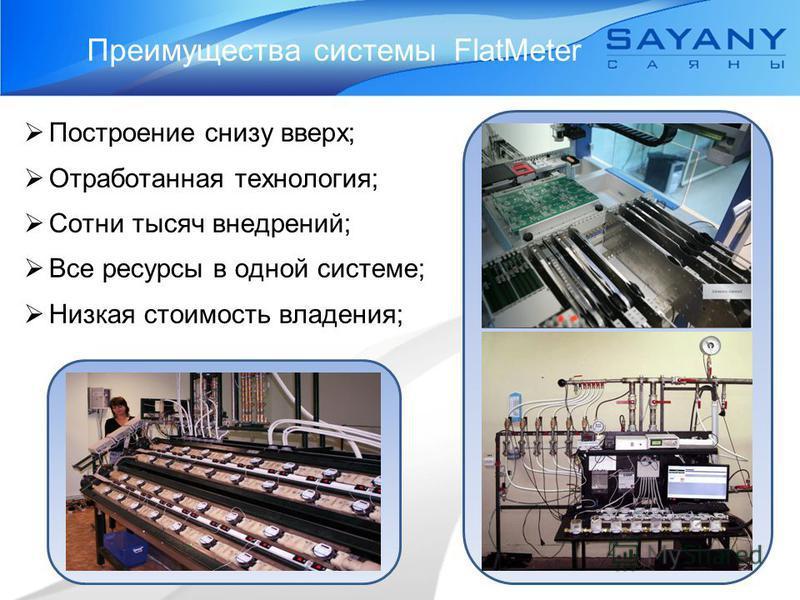 Преимущества системы FlatMeter Построение снизу вверх; Отработанная технология; Сотни тысяч внедрений; Все ресурсы в одной системе; Низкая стоимость владения;