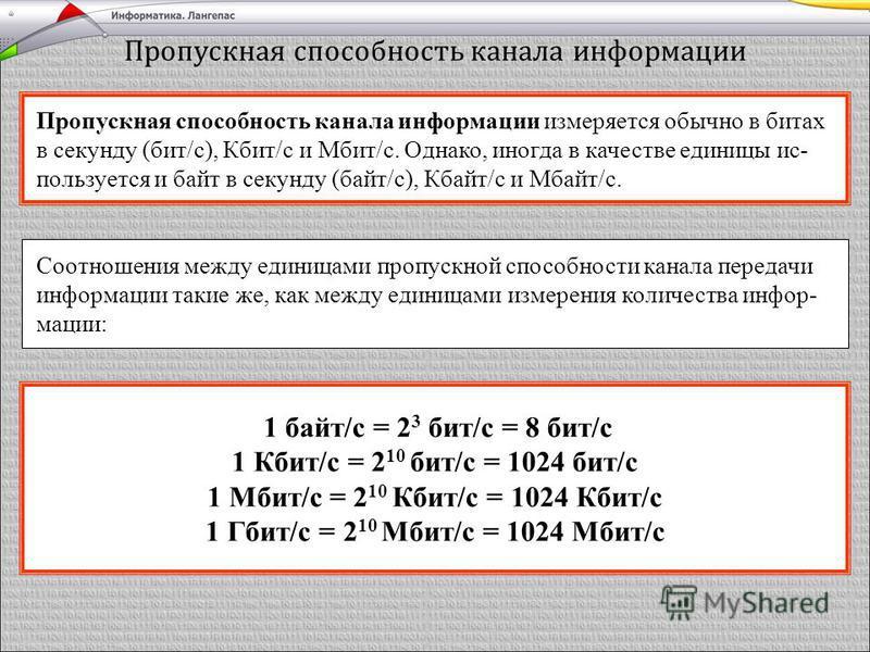 Пропускная способность канала информации Пропускная способность канала информации измеряется обычно в битах в секунду (бит/с), Кбит/с и Мбит/с. Однако, иногда в качестве единицы ис- пользуется и байт в секунду (байт/с), Кбайт/с и Мбайт/с. Соотношения