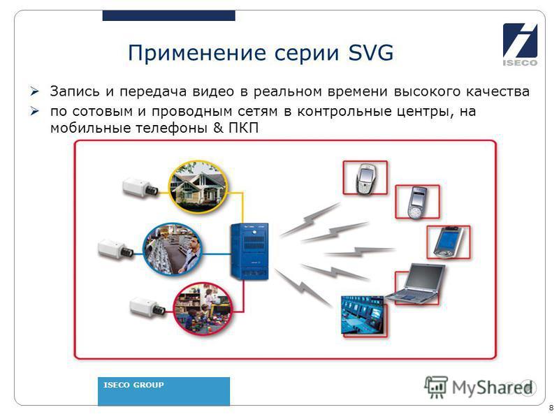 ISECO GROUP 8 Применение серии SVG Запись и передача видео в реальном времени высокого качества по сотовым и проводным сетям в контрольные центры, на мобильные телефоны & ПКП