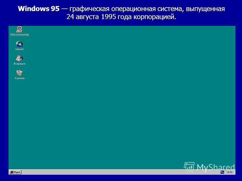 Windows 95 графическая операционная система, выпущенная 24 августа 1995 года корпорацией.