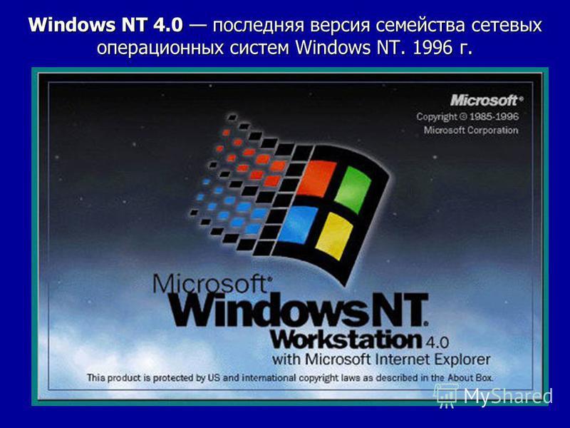 Windows NT 4.0 последняя версия семейства сетевых операционных систем Windows NT. 1996 г.
