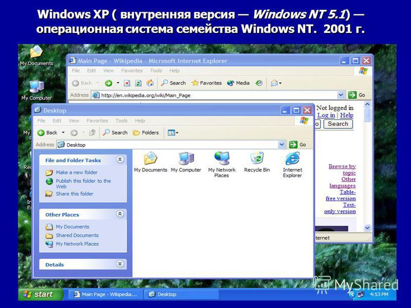 Windows XP ( внутренняя версия Windows NT 5.1) операционная система семейства Windows NT. 2001 г.
