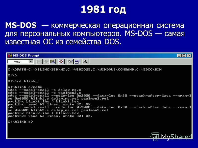 MS-DOS коммерческая операционная система для персональных компьютеров. MS-DOS самая известная ОС из семейства DOS. 1981 год