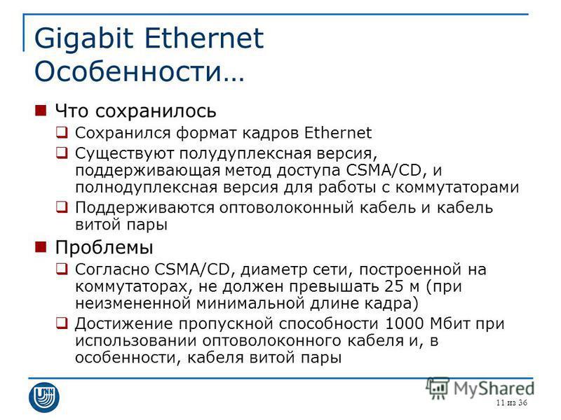 Gigabit Ethernet Особенности… Что сохранилось Сохранился формат кадров Ethernet Существуют полудуплексная версия, поддерживающая метод доступа CSMA/CD, и полнодуплексная версия для работы с коммутаторами Поддерживаются оптоволоконный кабель и кабель