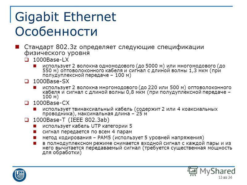 Gigabit Ethernet Особенности Стандарт 802.3z определяет следующие спецификации физического уровня 1000Base-LX использует 2 волокна одномодового (до 5000 м) или многомодового (до 550 м) оптоволоконного кабеля и сигнал с длиной волны 1,3 мкм (при полуд
