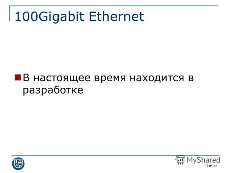 100Gigabit Ethernet В настоящее время находится в разработке 15 из 36