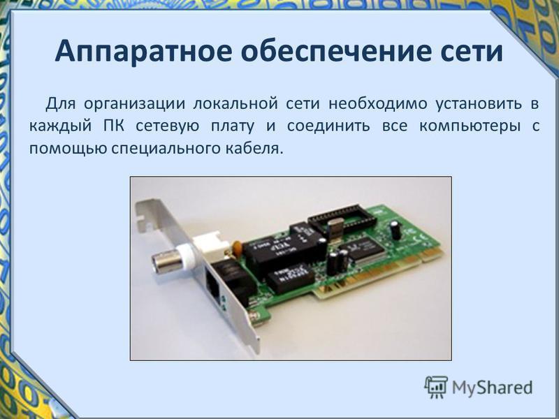 Аппаратное обеспечение сети Для организации локальной сети необходимо установить в каждый ПК сетевую плату и соединить все компьютеры с помощью специального кабеля.
