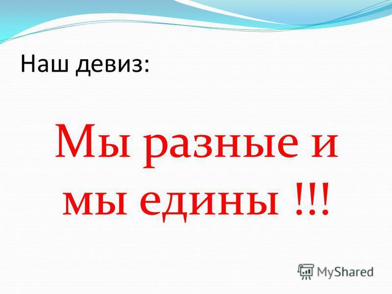 Наш девиз: Мы разные и мы едины !!!