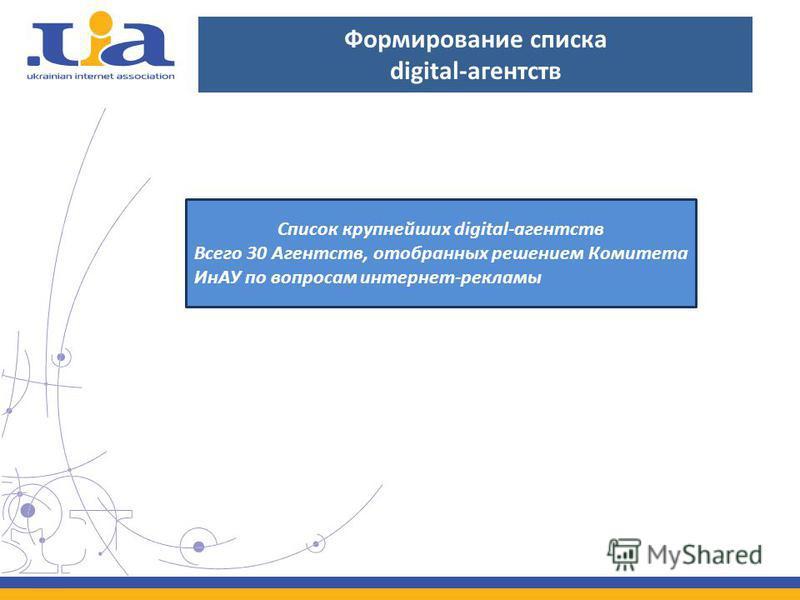 Формирование списка digital-агентств Список крупнейших digital-агентств Всего 30 Агентств, отобранных решением Комитета ИнАУ по вопросам интернет-рекламы
