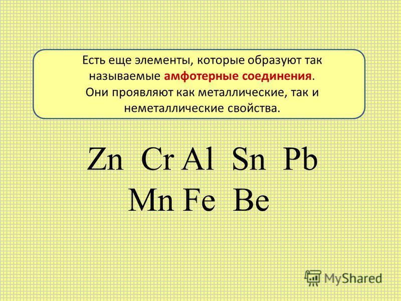 Zn Cr Al Sn Pb Mn Fe Be Есть еще элементы, которые образуют так называемые амфотерные соединения. Они проявляют как металлические, так и неметаллические свойства.