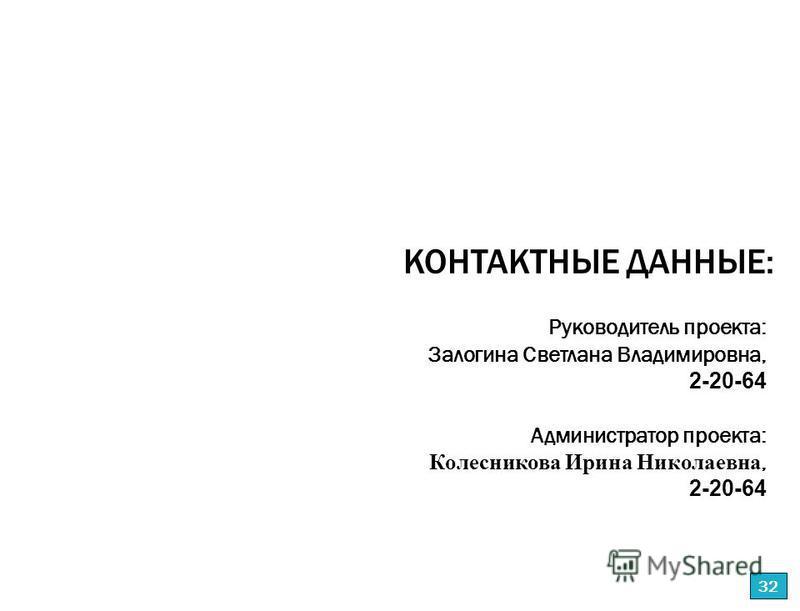 Руководитель проекта: Залогина Светлана Владимировна, 2-20-64 Администратор проекта: Колесникова Ирина Николаевна, 2-20-64 КОНТАКТНЫЕ ДАННЫЕ: 32