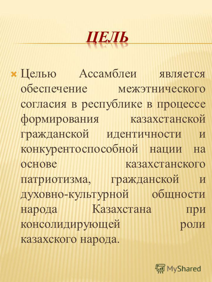 Целью Ассамблеи является обеспечение межэтнического согласия в республике в процессе формирования казахстанской гражданской идентичности и конкурентоспособной нации на основе казахстанского патриотизма, гражданской и духовно-культурной общности народ