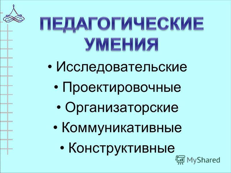 Исследовательские Проектировочные Организаторские Коммуникативные Конструктивные