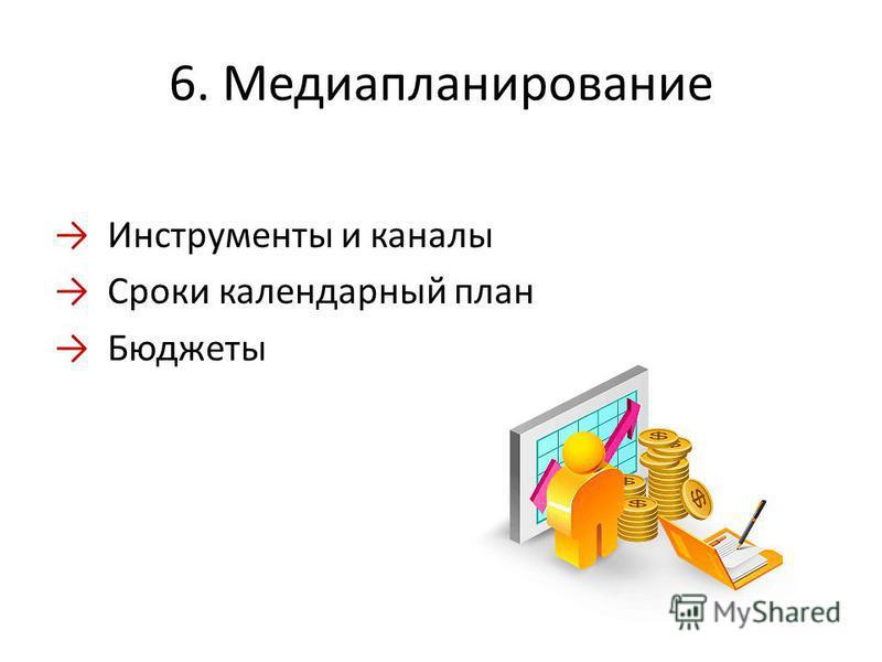 6. Медиапланирование Инструменты и каналы Сроки календарный план Бюджеты