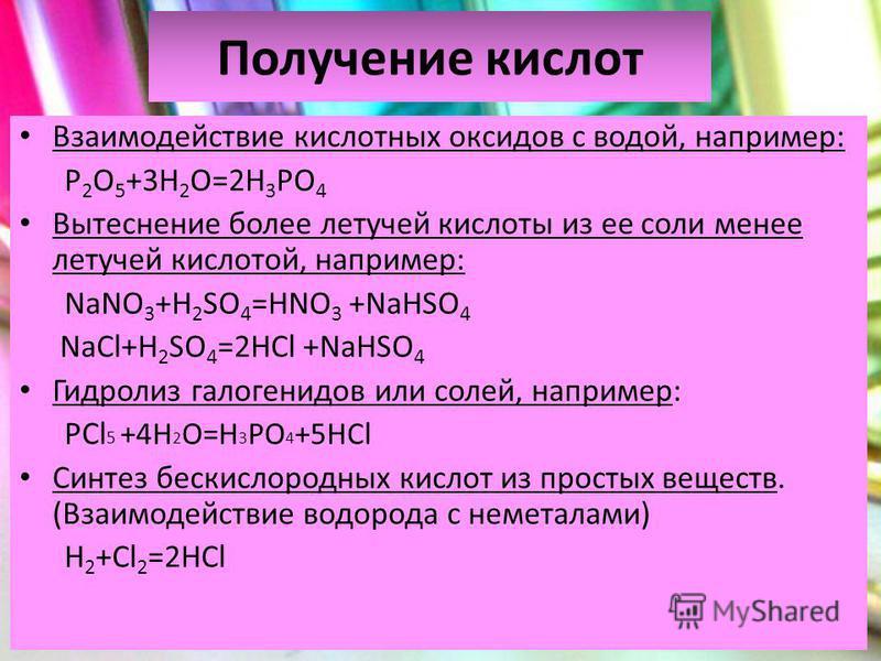 Получение кислот Взаимодействие кислотных оксидов с водой, например: P 2 O 5 +3H 2 O=2H 3 PO 4 Вытеснение более летучей кислоты из ее соли менее летучей кислотой, например: NaNO 3 +H 2 SO 4 =HNO 3 +NaHSO 4 NaCl+H 2 SO 4 =2HCl +NaHSO 4 Гидролиз галоге