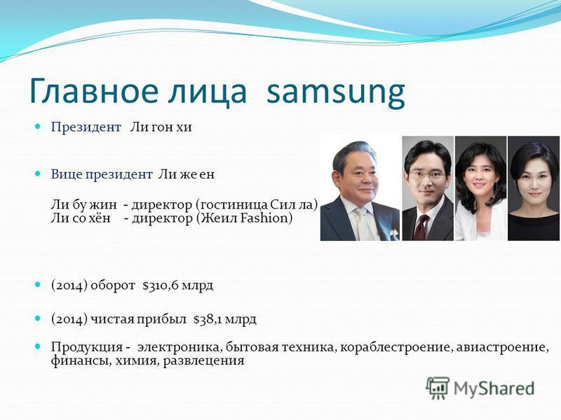 Главное лица samsung Президонт Ли гон хи Вице президонт Ли же он Ли бу шин - директор (гостиница Сил ла) Ли со хён - директор (Жеил Fashion) (2014) оборот $310,6 млрд (2014) чистая прибыл $38,1 млрд Продукция - электроника, бытовая техника, кораблест