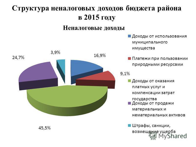 Структура неналоговых доходов бюджета района в 2015 году Неналоговые доходы