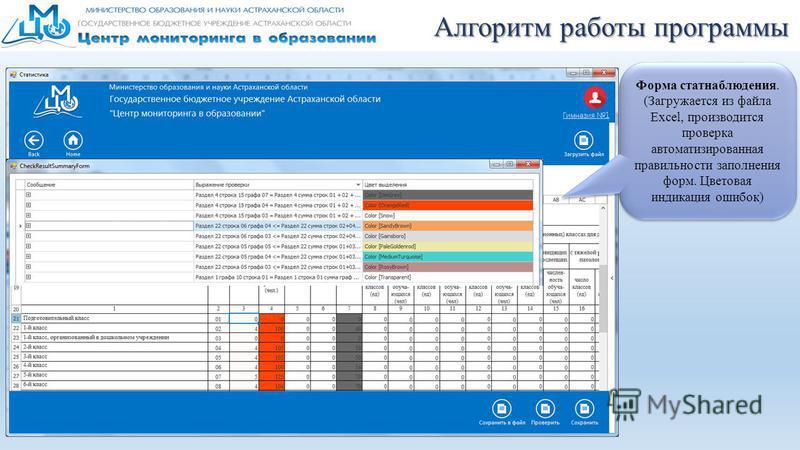 Алгоритм работы программы Форма стат наблюдения. (Загружается из файла Excel, производится проверка автоматизированная правильности заполнения форм. Цветовая индикация ошибок)