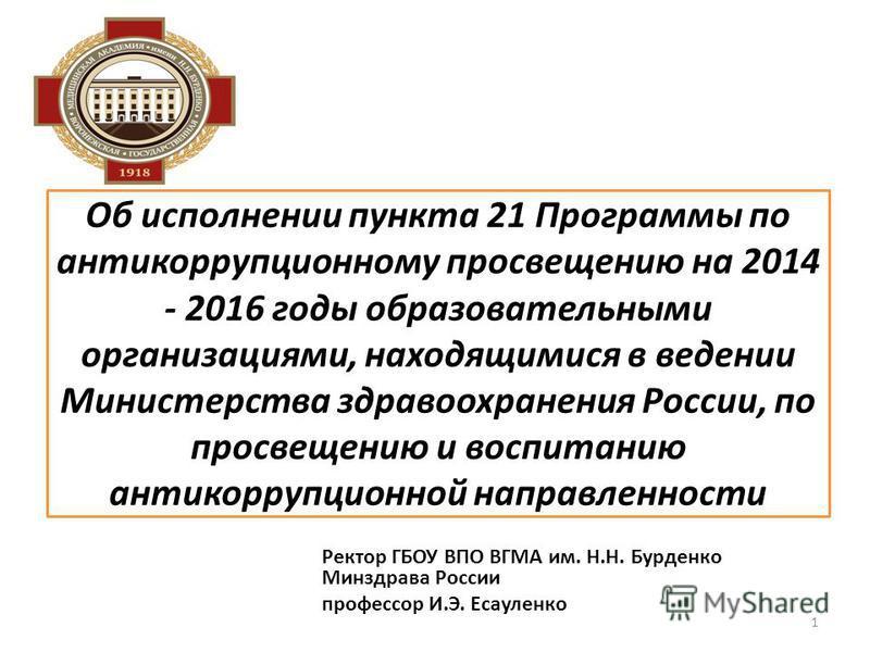 Об исполнении пункта 21 Программы по антикоррупционному просвещению на 2014 - 2016 годы образовательными организациями, находящимися в ведении Министерства здравоохранения России, по просвещению и воспитанию антикоррупционной направленности Ректор ГБ
