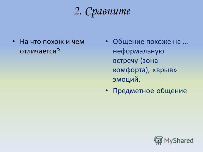 2. Сравните На что похож и чем отличается? Общение похоже на … неформальную встречу (зона комфорта), «врыв» эмоций. Предметное общение