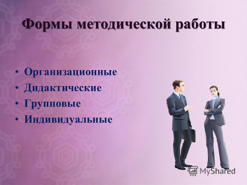 Формы методической работы Организационные Дидактические Групповые Индивидуальные