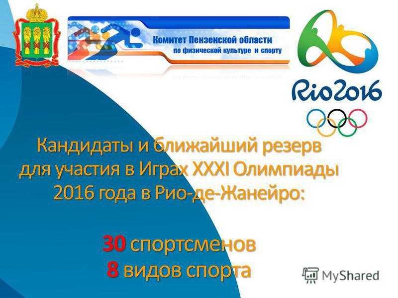 Кандидаты и ближайший резерв для участия в Играх ХХХI Олимпиады 2016 года в Рио-де-Жанейро: 30 спортсменов 8 видов спорта