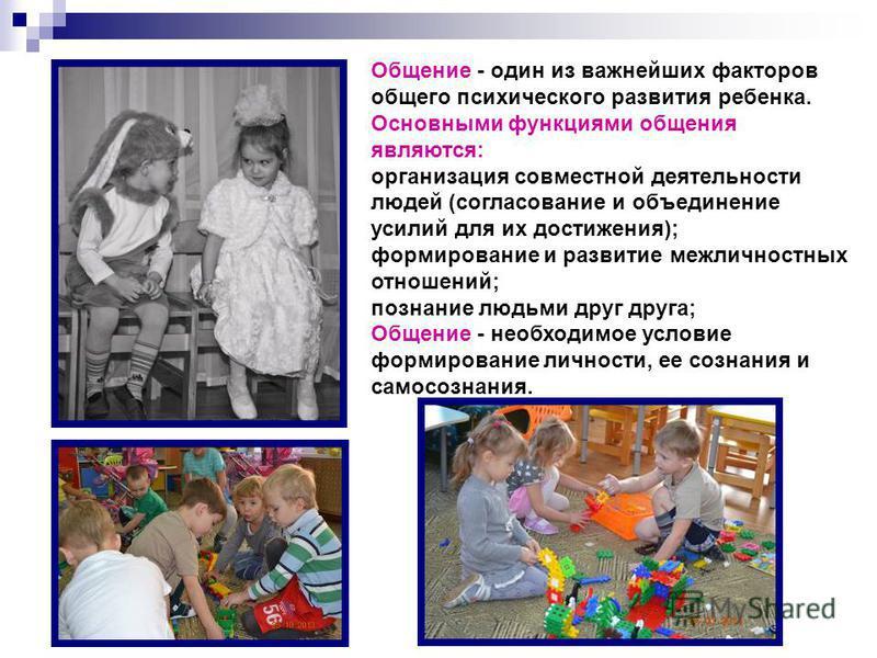 Общение - один из важнейших факторов общего психического развития ребенка. Основными функциями общения являются: организация совместной деятельности людей (согласование и объединение усилий для их достижения); формирование и развитие межличностных от
