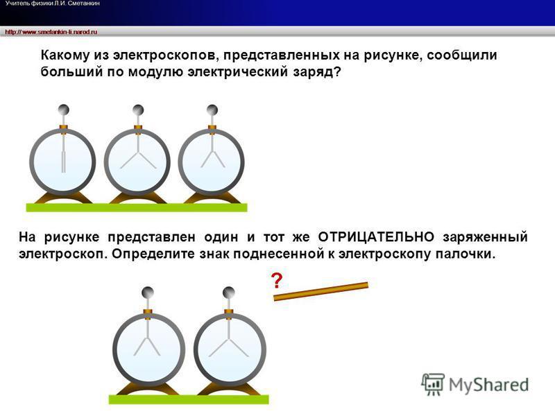 Какому из электроскопов, представленных на рисунке, сообщили больший по модулю электрический заряд? На рисунке представлен один и тот же ОТРИЦАТЕЛЬНО заряженный электроскоп. Определите знак поднесенной к электроскопу палочки. ?