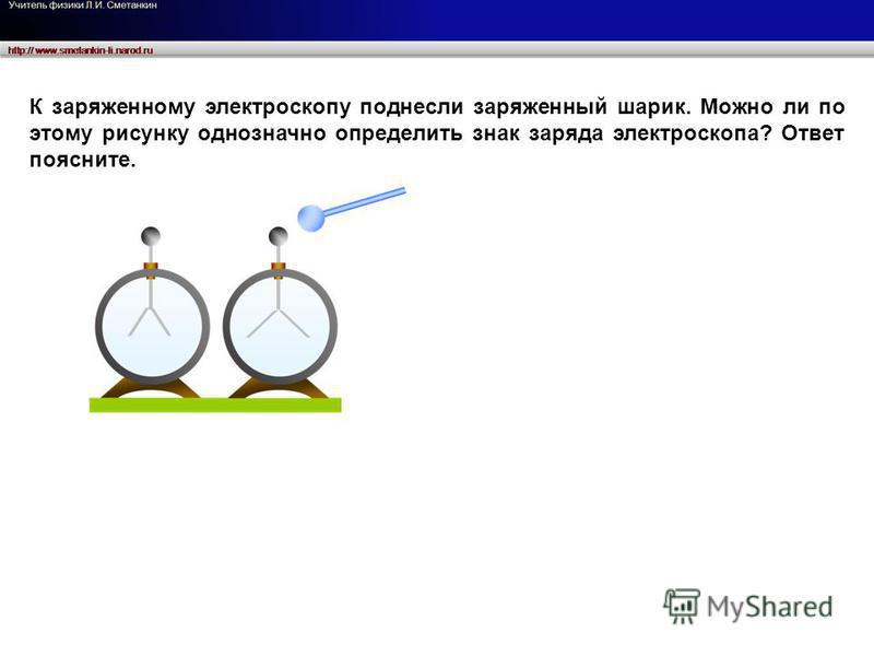 К заряженному электроскопу поднесли заряженный шарик. Можно ли по этому рисунку однозначно определить знак заряда электроскопа? Ответ поясните.