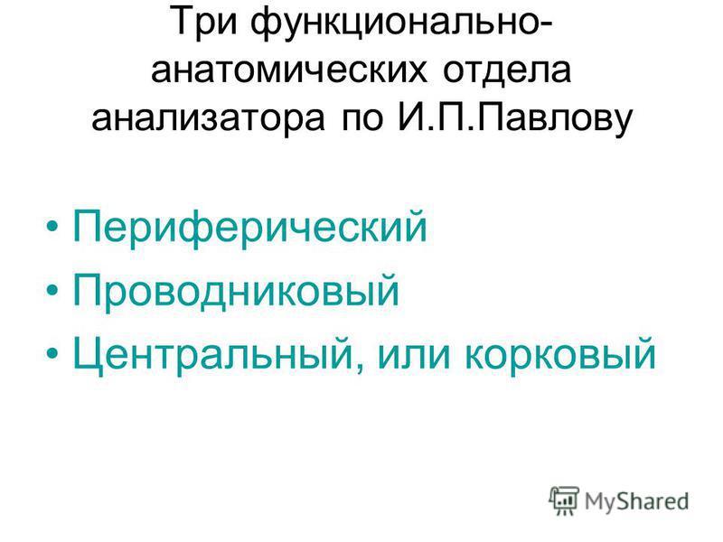 анализатора по И.П.Павлову