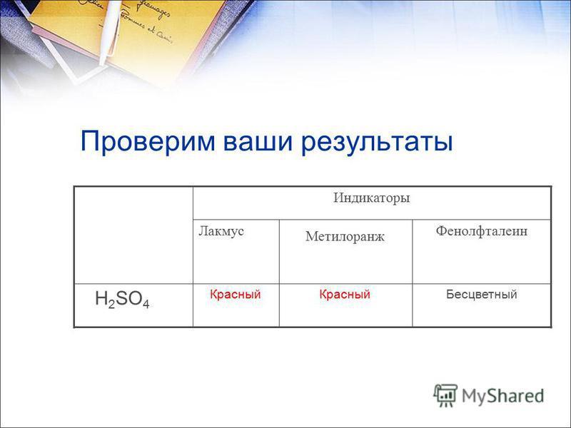 Проверим ваши результаты Фенолфталеин Метилоранж Лакмус Бесцветный Красный H 2 SO 4 Индикаторы