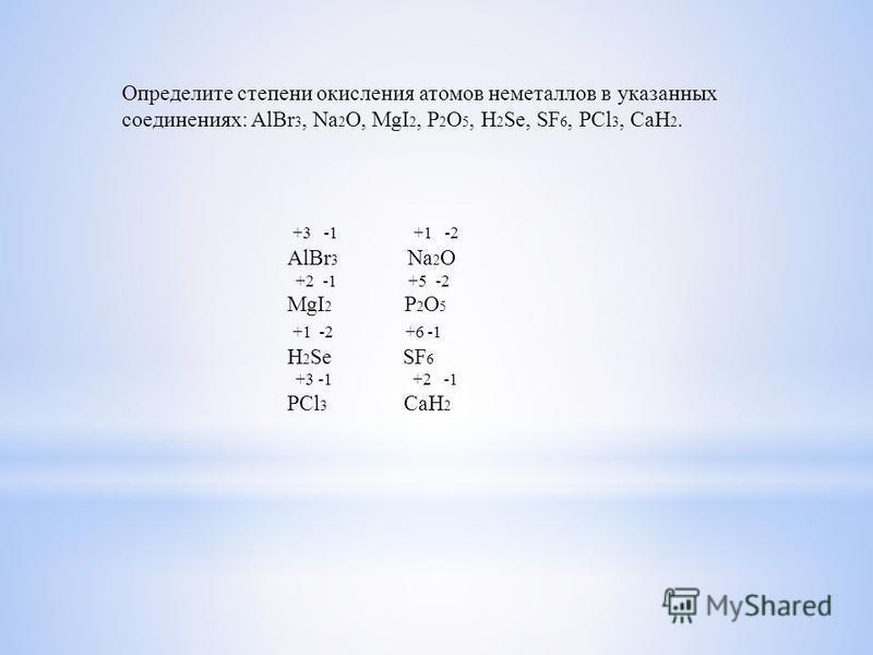 Определите степени окисления атомов немееталлов в указанных соединениях: AlBr 3, Na 2 O, MgI 2, P 2 O 5, H 2 Se, SF 6, PCl 3, CaH 2. +3 -1 +1 -2 AlBr 3 Na 2 O +2 -1 +5 -2 MgI 2 P 2 O 5 +1 -2 +6 -1 H 2 Se SF 6 +3 -1 +2 -1 PCl 3 CaH 2