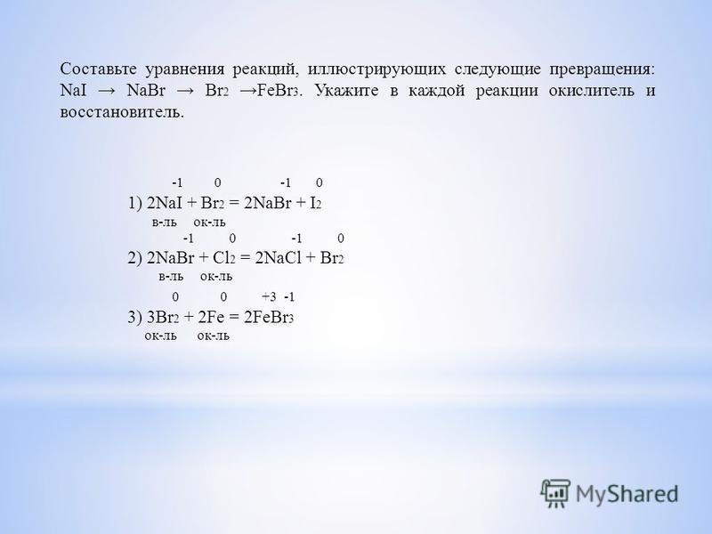 Составьте уравнения реакций, иллюстрирующих следующие превращения: NaI NaBr Br 2 FeBr 3. Укажите в каждой реакции окислитель и восстановитель. -1 0 -1 0 1) 2NaI + Br 2 = 2NaBr + I 2 в-локк-ль -1 0 -1 0 2) 2NaBr + Cl 2 = 2NaCl + Br 2 в-локк-ль 0 0 +3