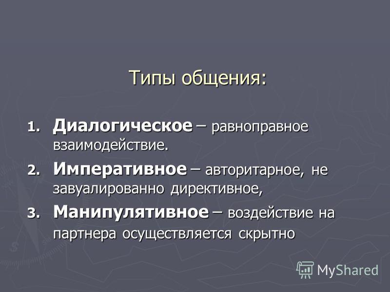 Типы общения: 1. Диалогическое – равноправное взаимодействие. 2. Императивное – авторитарное, не завуалированно директивное, 3. Манипулятивное – воздействие на партнера осуществляется скрытно