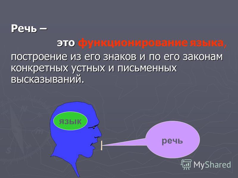 Речь – это это функционирование языка, построение из его знаков и по его законам конкретных устных и письменных высказываний. речь язык