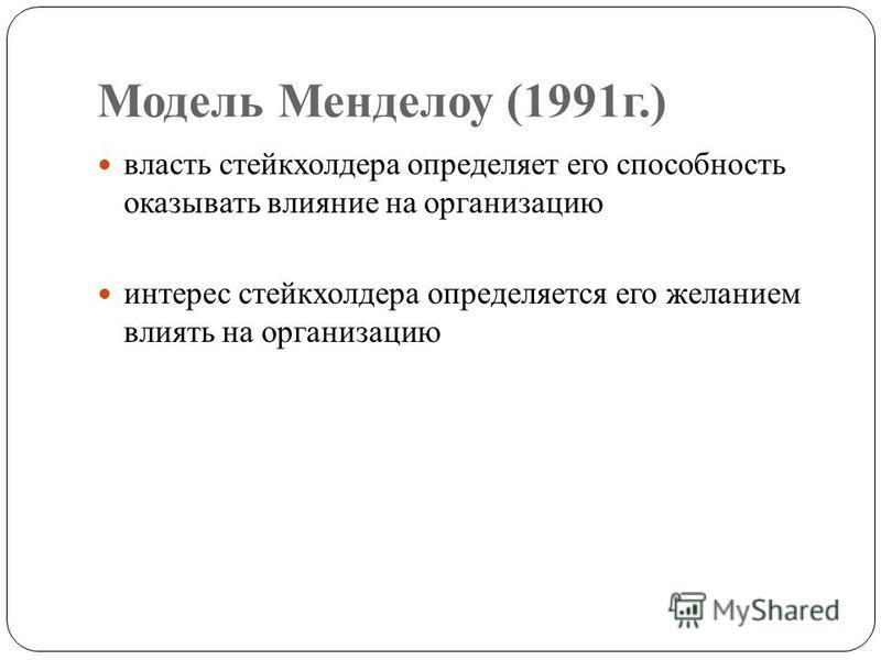 Модель Менделоу (1991 г.) власть стейкхолдера определяет его способность оказывать влияние на организацию интерес стейкхолдера определяется его желанием влиять на организацию