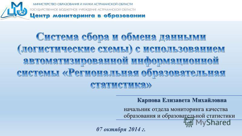 Карпова Елизавета Михайловна начальник отдела мониторинга качества образования и образовательной статистики 07 октября 2014 г.
